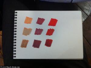 tester les couleurs avant de faire son croquis en dessinant sur une feuille à part