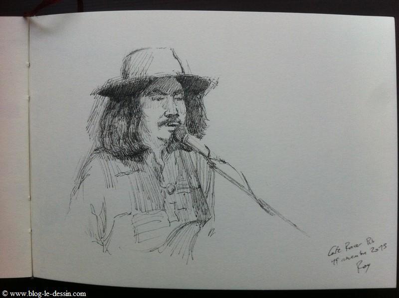 Dessiner un portrait lors d'un concert