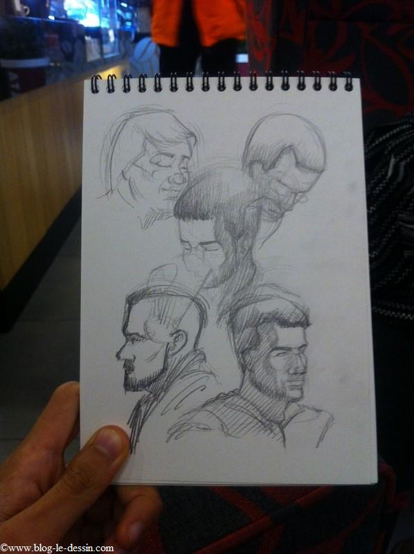 Une composition où j'ai dessiné 5 portraits