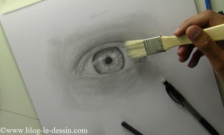 Je dessine les détails à l'intérieur de l'iris avec un porte-mine et un pinceau.