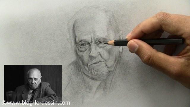comment dessiner un vieil homme contraste regard