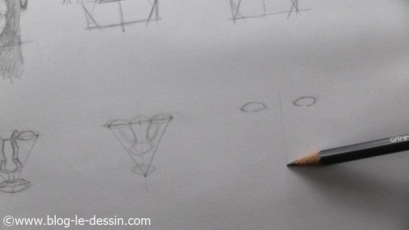 dessiner un visage proportions trouver sommet triangle