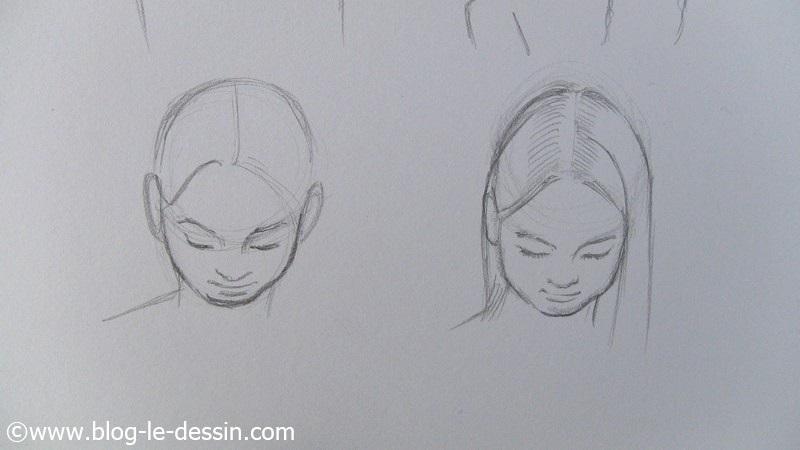tracez deux cercles pour apprendre a dessiner les visages penches en avant