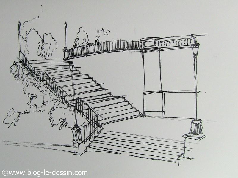 Dessiner un escalier en perspective à MAIN LEVÉE