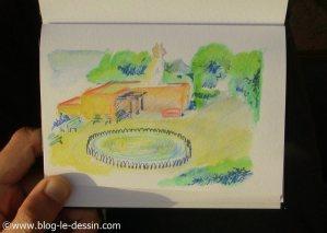 croquis aquarelle jardin sliema
