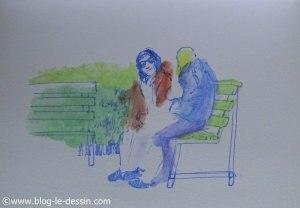 croquis crayons aquarelles personne sur le vif