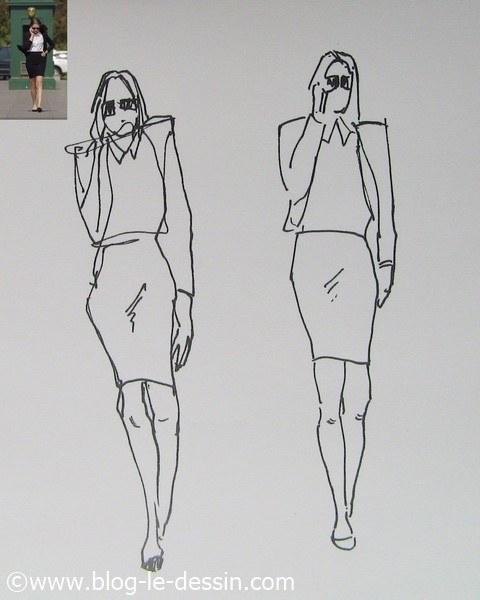 dessin pose dynamique marche