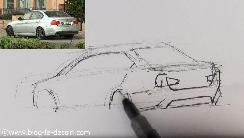 dessiner voiture sportive facile feux arriere