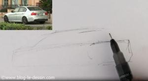 dessiner voiture sportive precision arriere