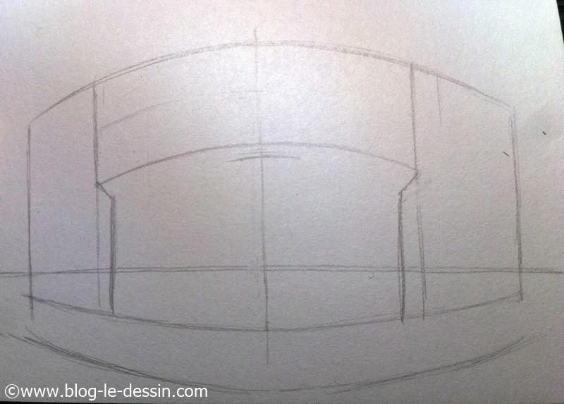 apprendre a dessiner perspective segment horizontaux du toit