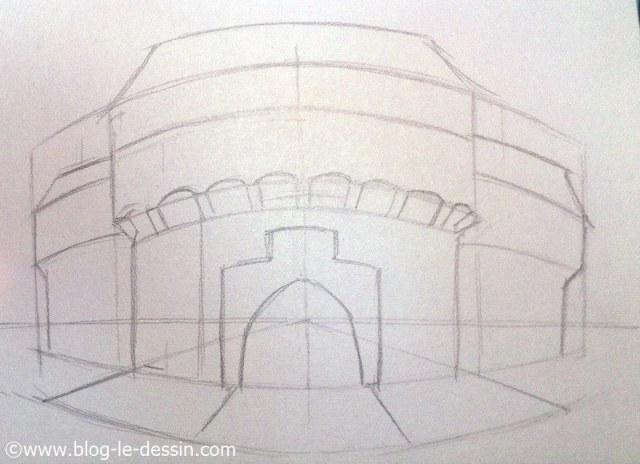 apprendre a dessiner perspective placer les bancs avec point de fuite