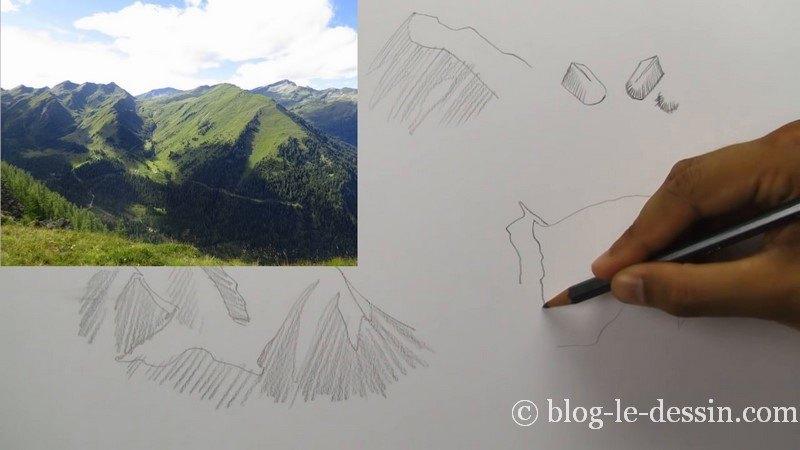 dessiner changement plan et relief montagne chaine
