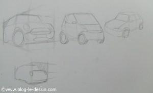 trois illustrations pour expliquer la technique de la perspective appliquee aux dessin de voitures