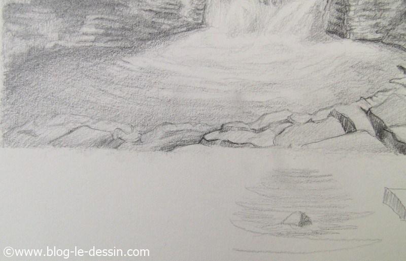 schema pour dessiner les rochers de ce paysage en commencant par les formes elementaires
