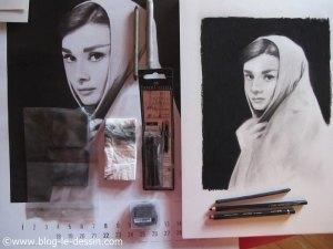 illustration liste materiel pour transformer une photo en portrait fusain