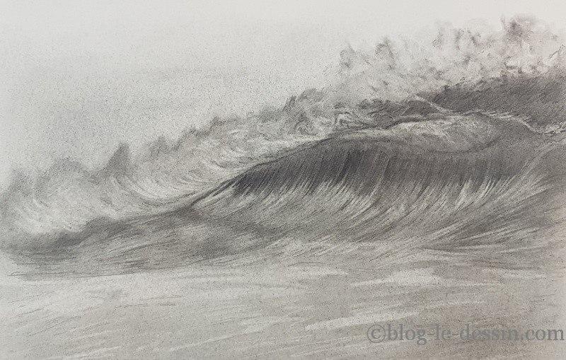 Dessiner une vague réaliste au graphite sans entrer dans les détails.