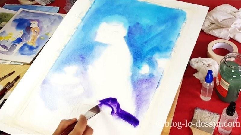 peindre en partant du haut pour faire une aquarelle
