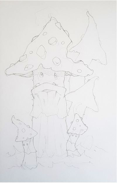 crayon préparatoire personnage fantasy art