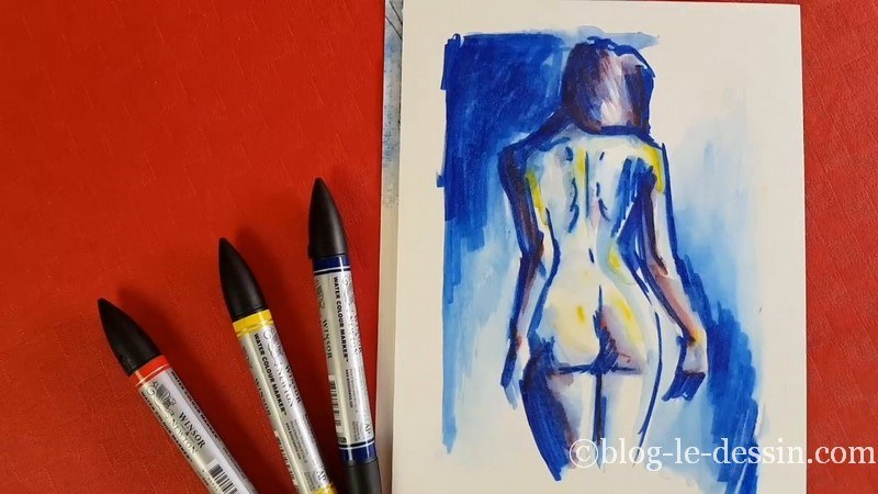 croquis femme feutre aquarelle