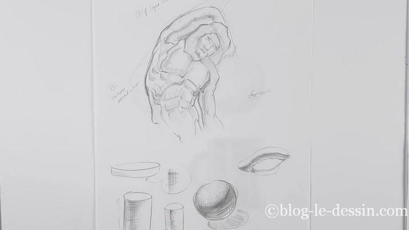 exemple dessiner les hachures sur formes diverses et cylindre