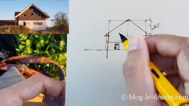 croquis toit maison encre