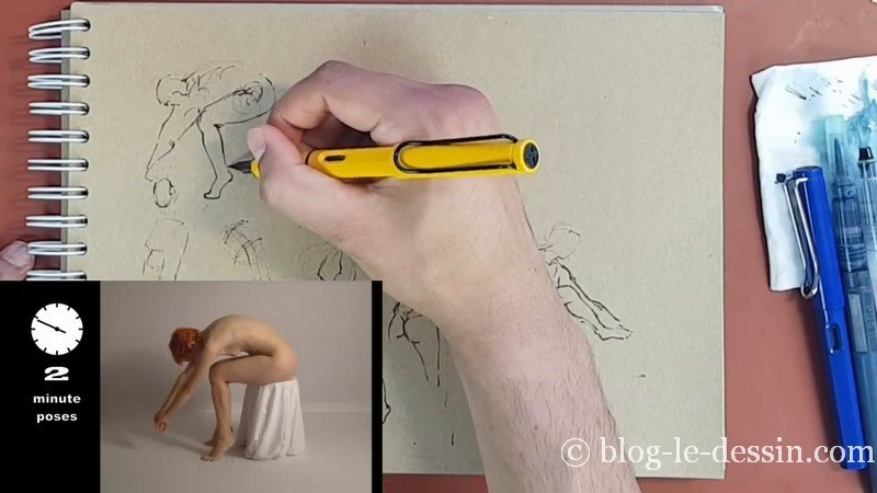 entrainement dessin attitude encre sepia