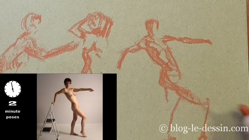 travail gestuelle et ombre contraste sanguine