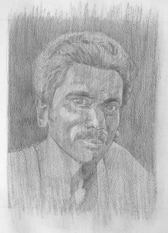 dessin de portrait avec un fond