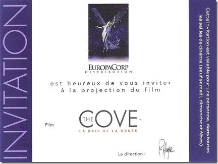 Place de cinéma-invitation pour The Cove - La Baie de la Honte