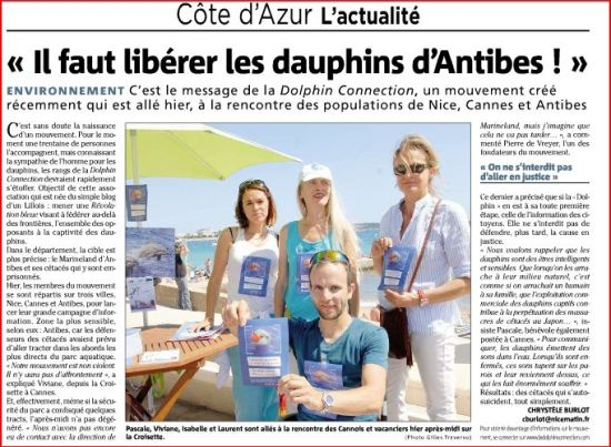 Article de Nice Matin du 24 juillet 2011