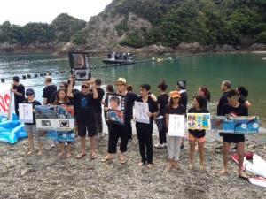 Militants Japonais à Taiji s'opposant au massacre des dauphins