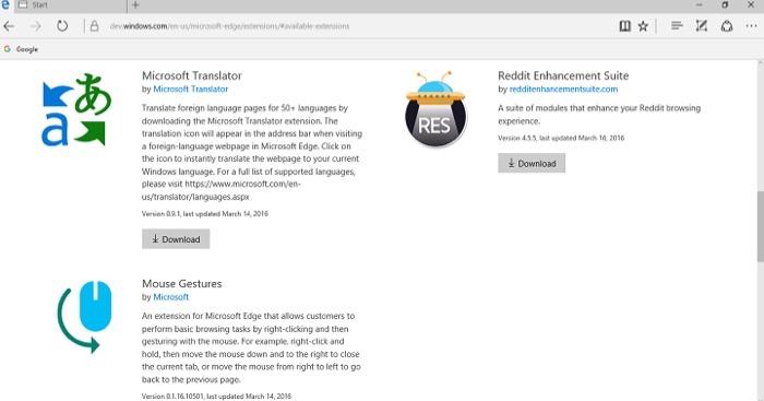 Windows 10 Anniversary Update : extensions Microsoft Edge