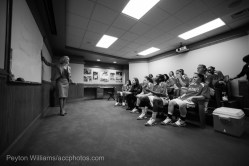 Coach Harper talks to her team before playing Maryland.