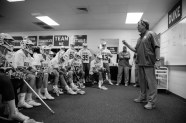 Coach Danowski speaks to his players before playing February 8, 2015.