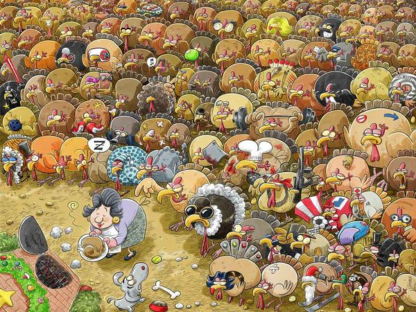 Christmas at Chaos Turkey Farm Christmas Jigsaw Puzzle
