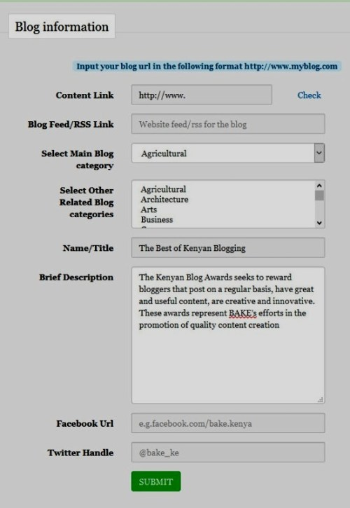 How to register blog with BAKE