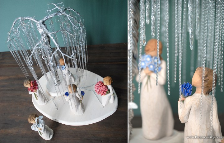 Icicle ornaments pair well with a hand-made wire tree to create a weeping willow.