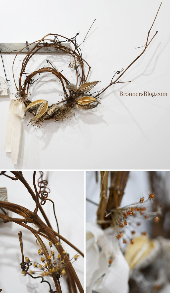 The collage features the grapevine wreath with milkweed and Queen Anne's lace hanging from the peg board and two closeups of the wreath.