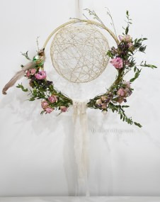 Dried flower embroidery hoop with twine ball