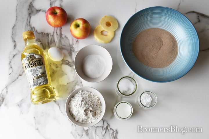 apple fritters recipe Ingredients laid out on a table