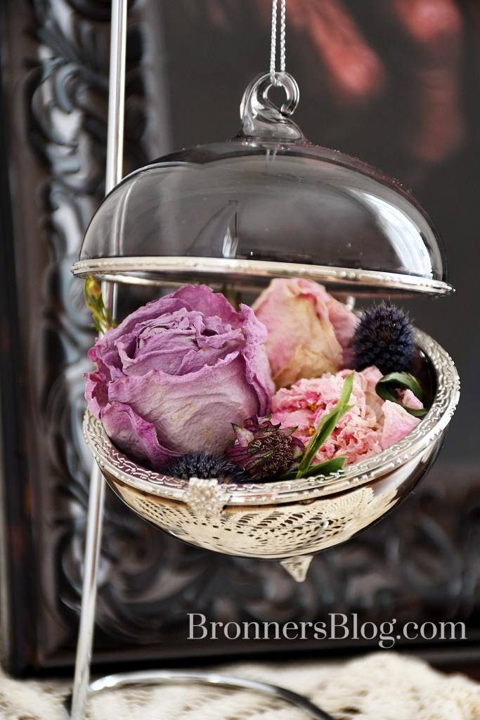 Jewel box ornament with dried flowers from funeral arrangement flowers.