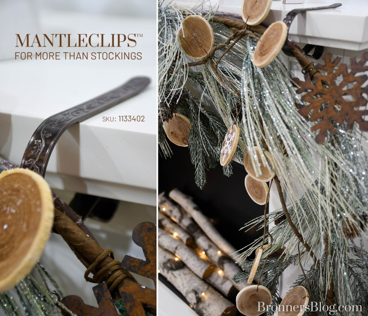 Bronner's MantleClips™ are great for hanging garlands in addition to stockings from the fireplace mantel.