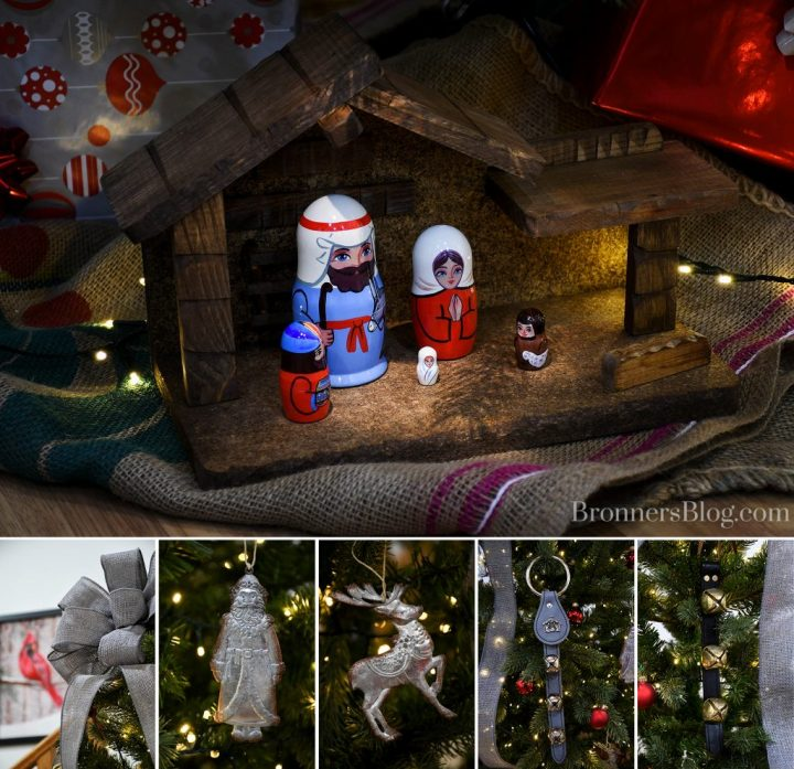 For sustainable decorations for Christmas, the photo collage includes pictures of the nesting doll Nativity in the stable under the tree atop burlap coffee-bean bags, the gray burlap ribbon bow atop the tree, the metal Santa and reindeer ornaments, and the jingle bell straps.
