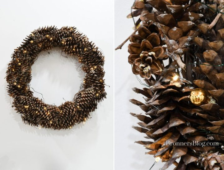 Photo collage with lighted pine cone wreath hanging on white wall and closeup of wreath for sustainable decorations for Christmas..