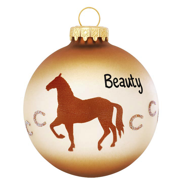 Horse with horseshoe trail personalized ornament