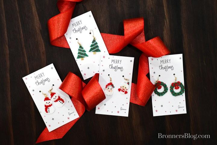 Woven Beaded Christmas Earrings