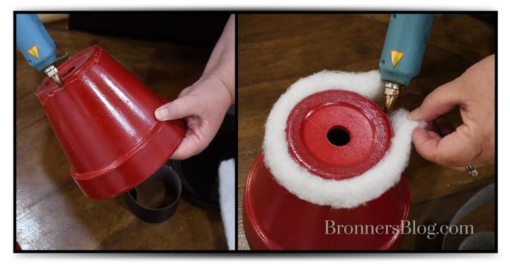"Gluing batting on to DIY ""Santa Pants"" flower pots"