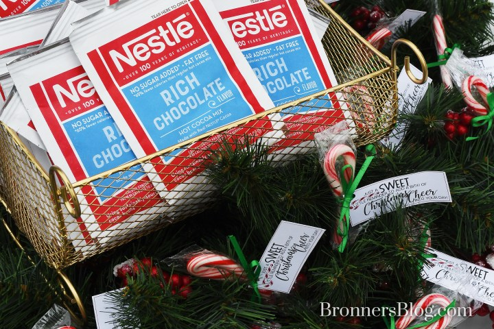 Hot cocoa in sleigh basket and candy canes in Christmas wreath