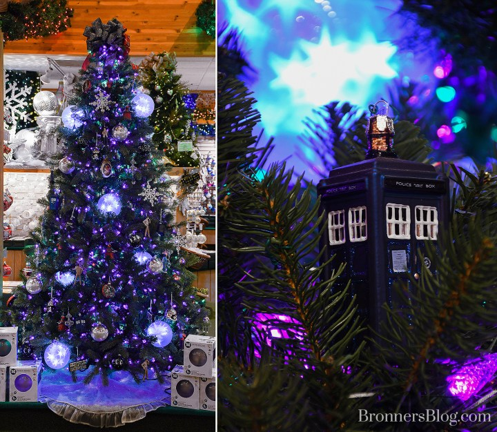 A pro tree-decorating tip from Bronner's is to use lighted orbs to add a futuristic space effect to a sci-fi themed tree