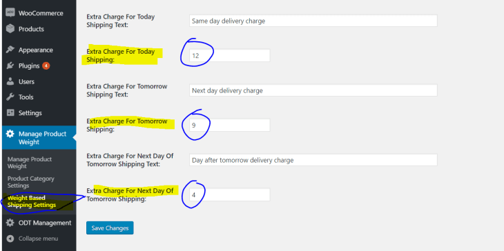 Same day, next day and day after tomorrow shipping charges - settings page V-1.0.1